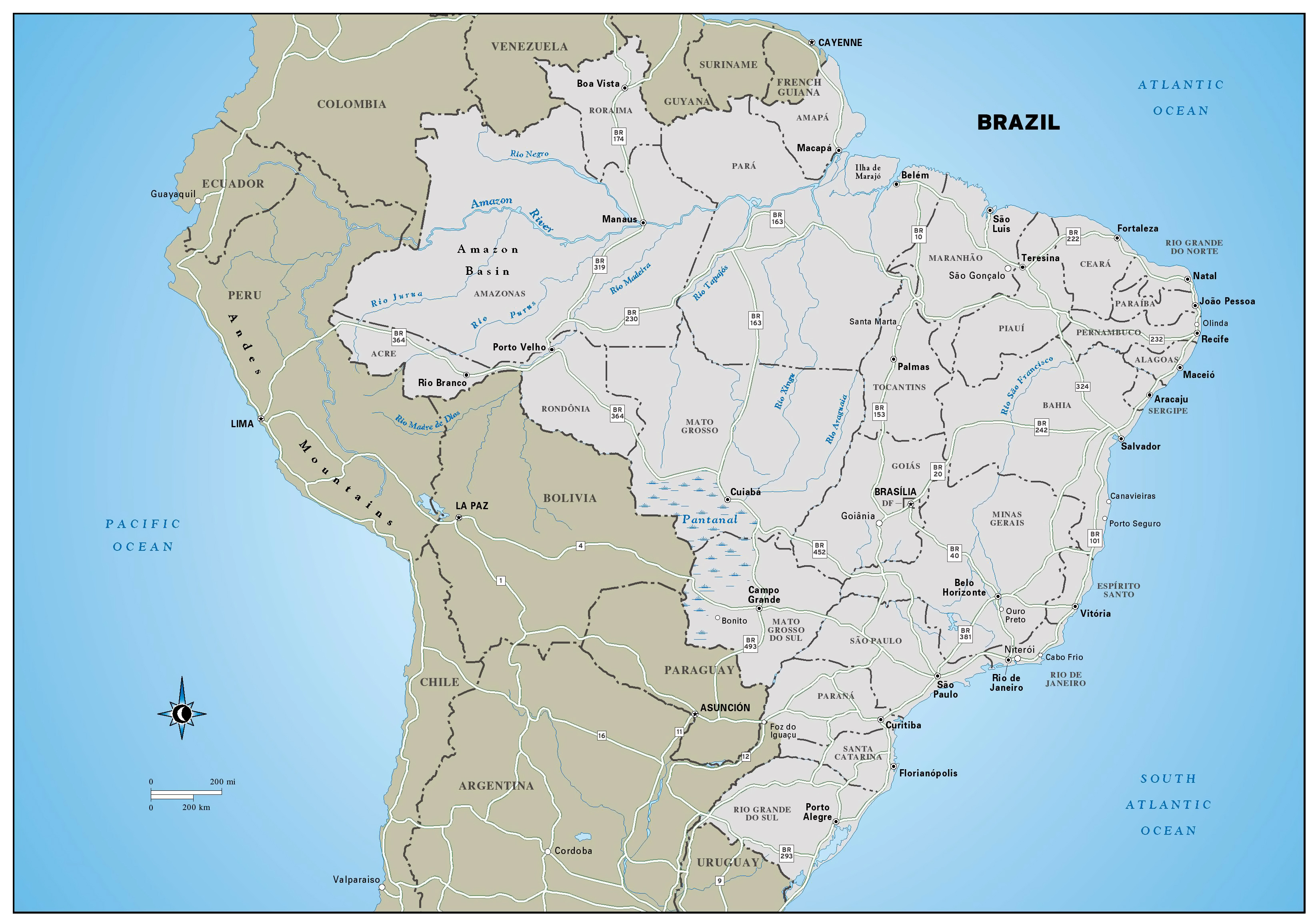 Large detailed political and administrative map of Brazil with ...