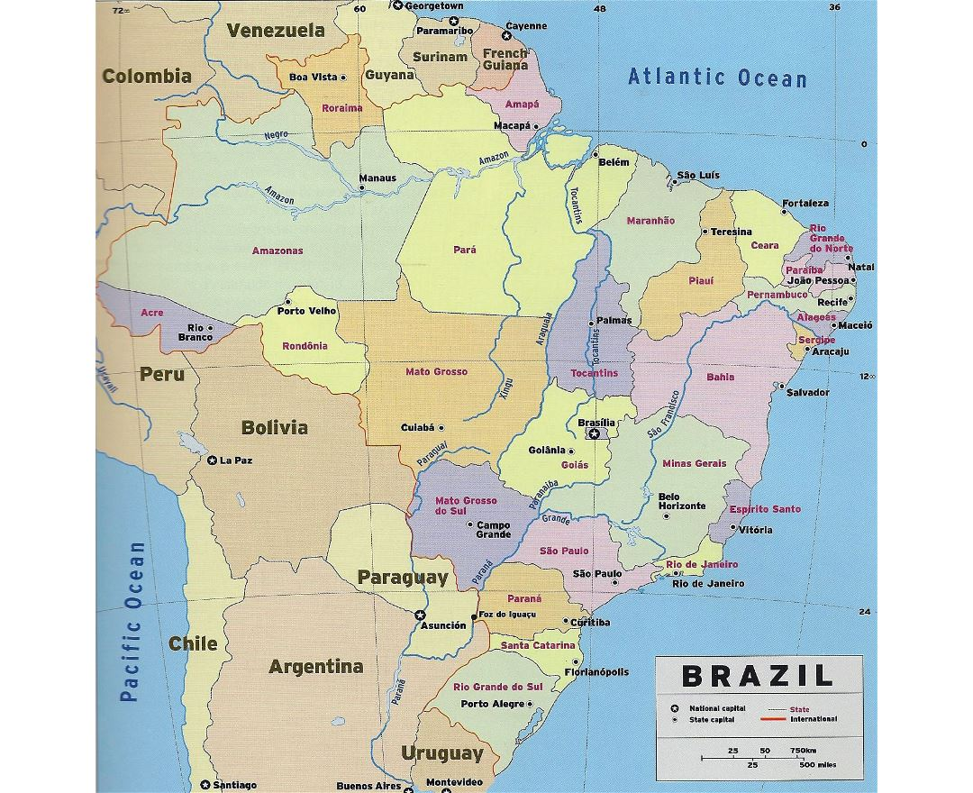 Large detailed political and administrative map of Brazil with national capital and state capitals