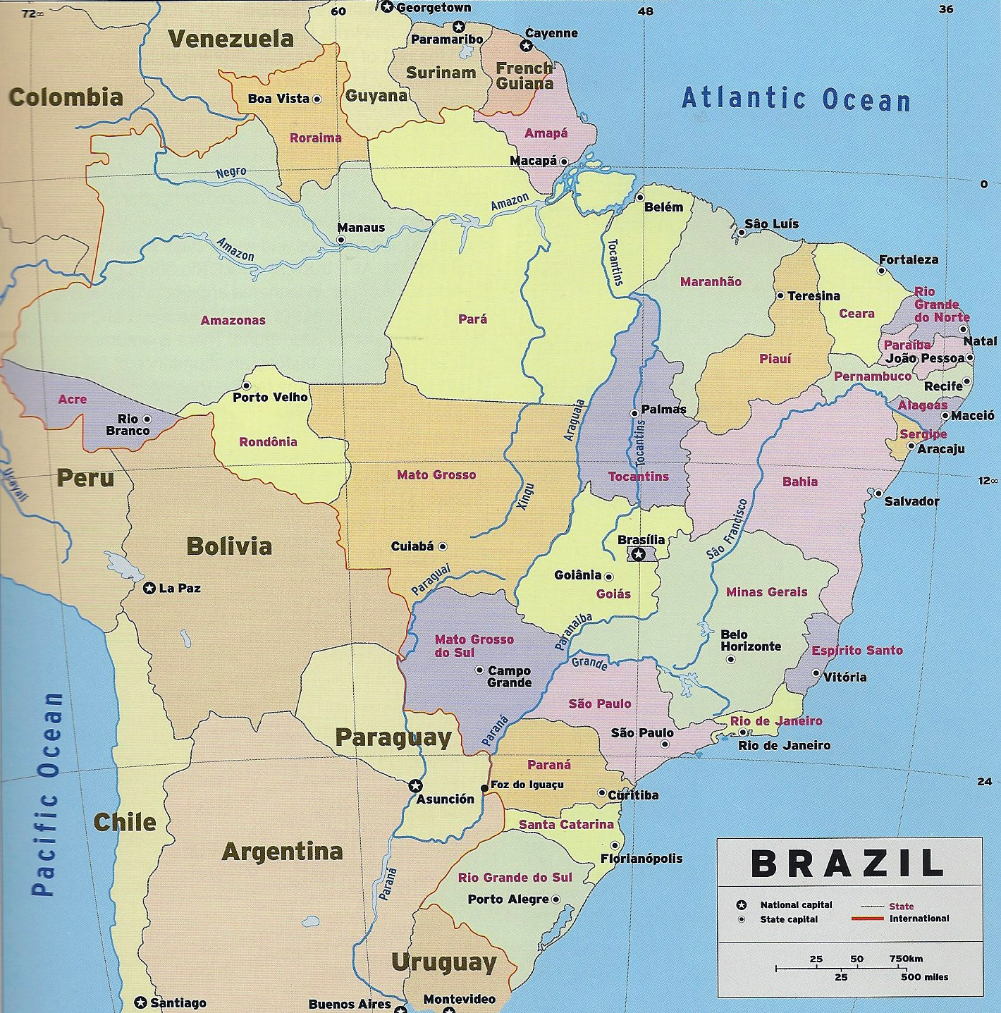 Large detailed political and administrative map of Brazil ...
