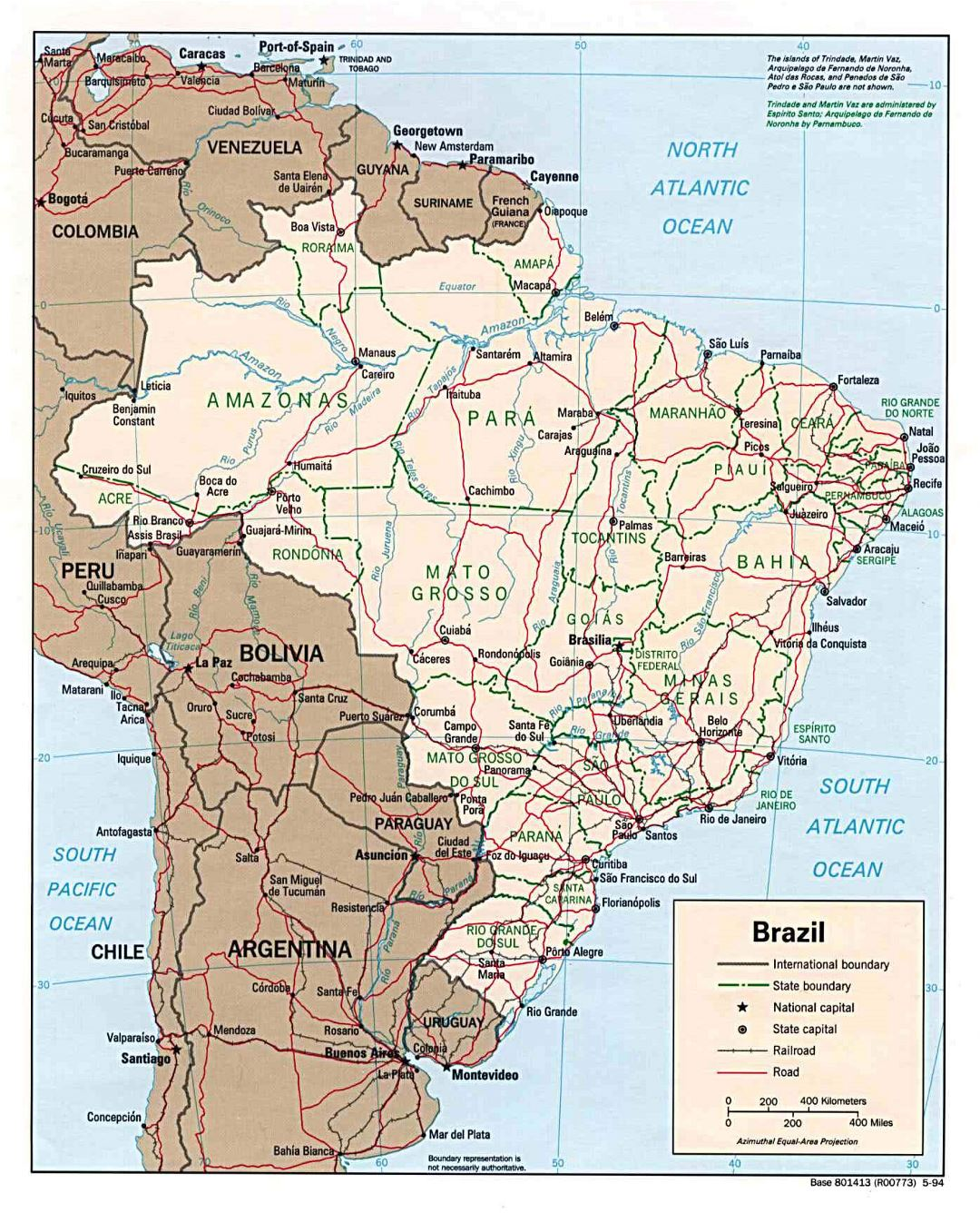 Large detailed political and administrative map of Brazil with roads and major cities - 1994
