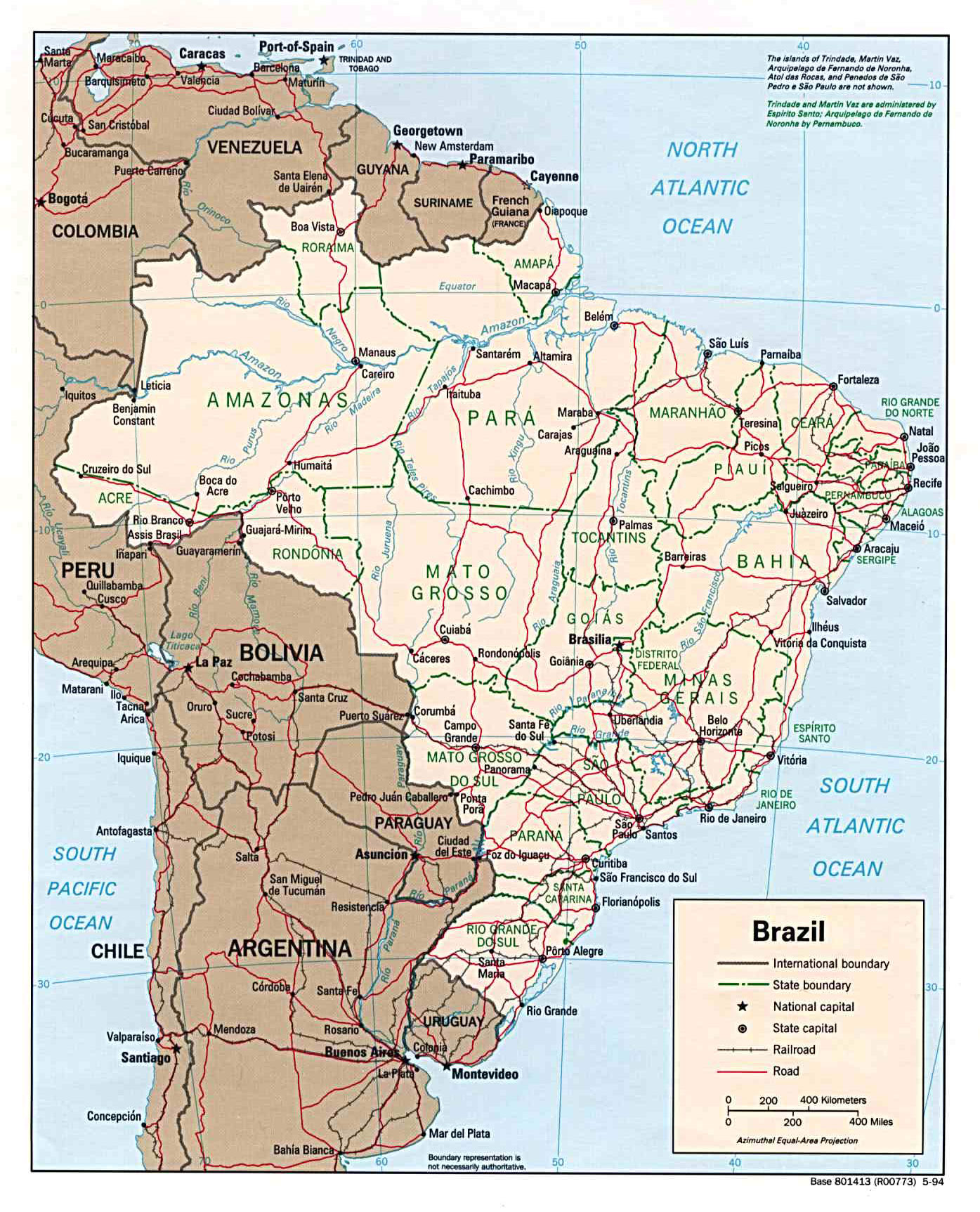 Large detailed political and administrative map of Brazil with roads