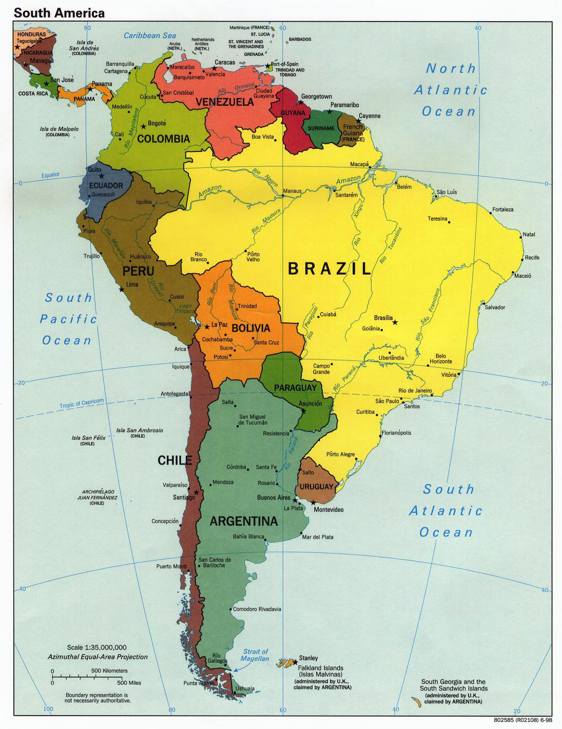 Large detailed political map of south america 1998 brazil large detailed political map of south america 1998 gumiabroncs Image collections