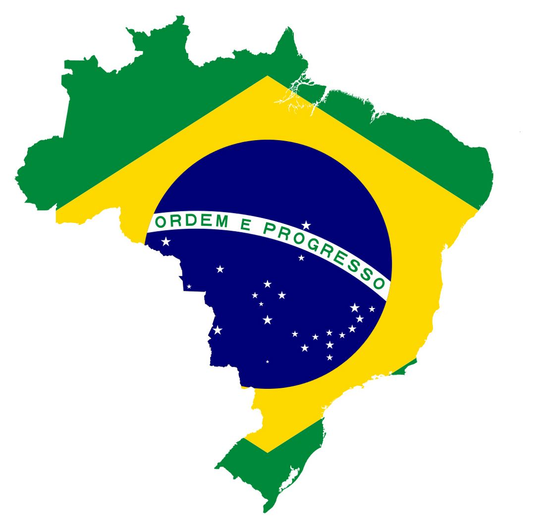 Large flag map of Brazil