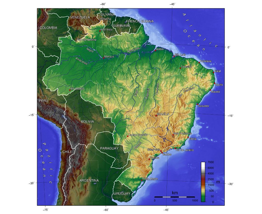 Large physical map of Brazil
