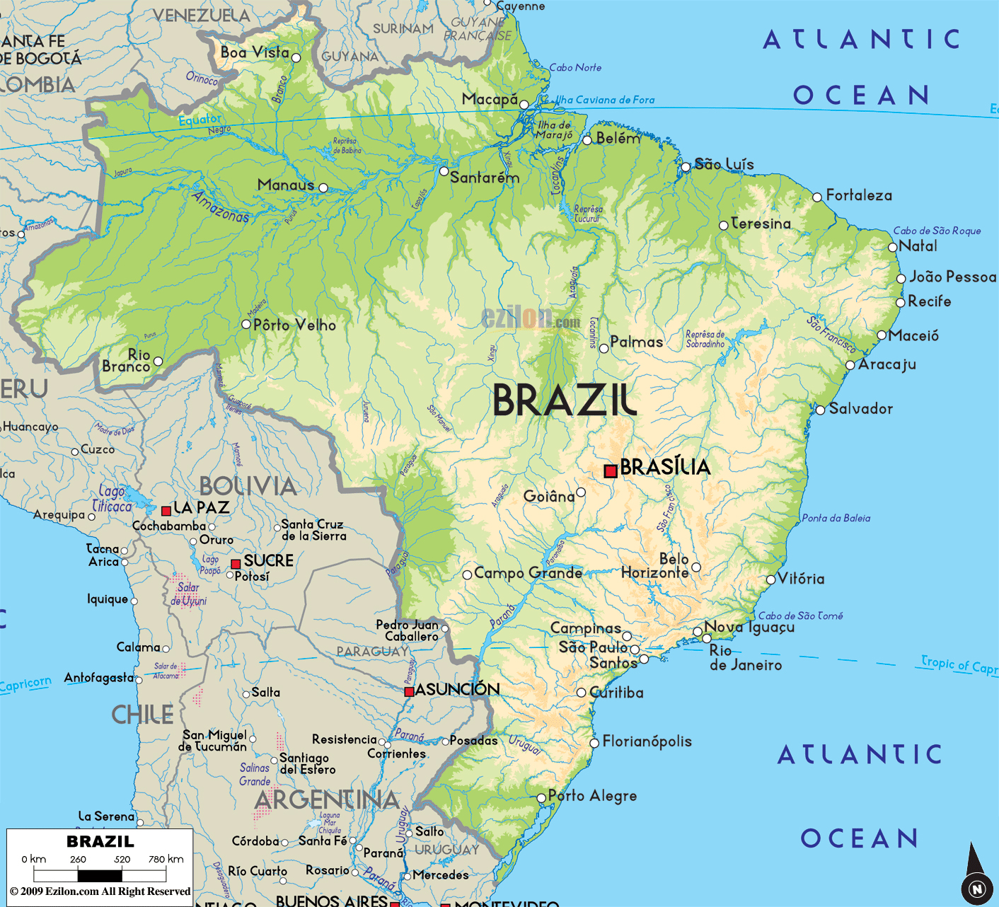 Large physical map of Brazil with major cities Brazil South