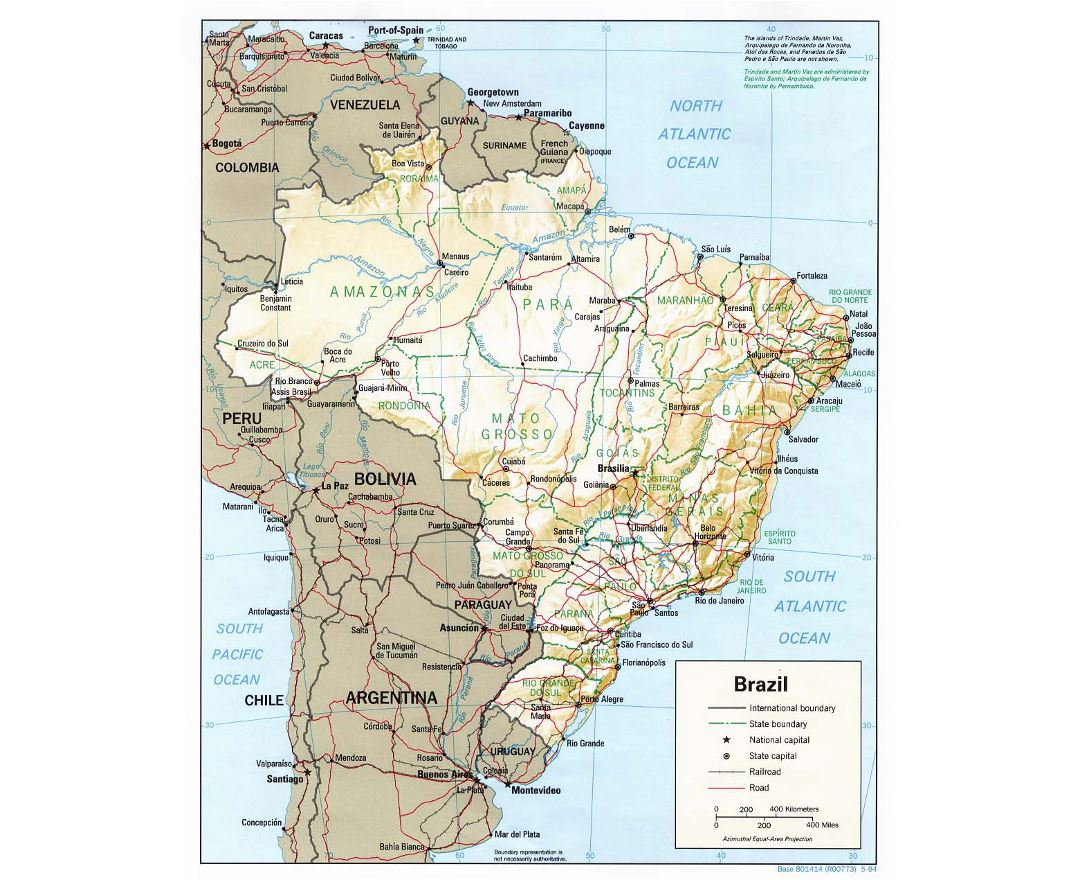 Large political and administrative map of Brazil with relief, roads and major cities - 1994