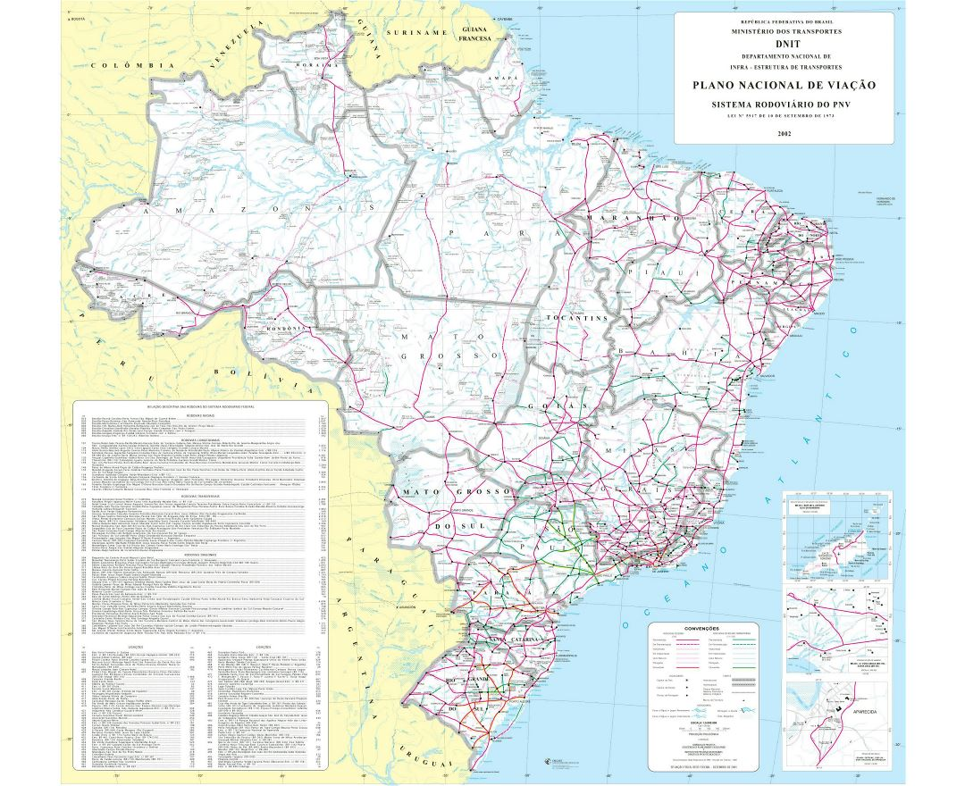 Large political and administrative map of Brazil with roads and cities