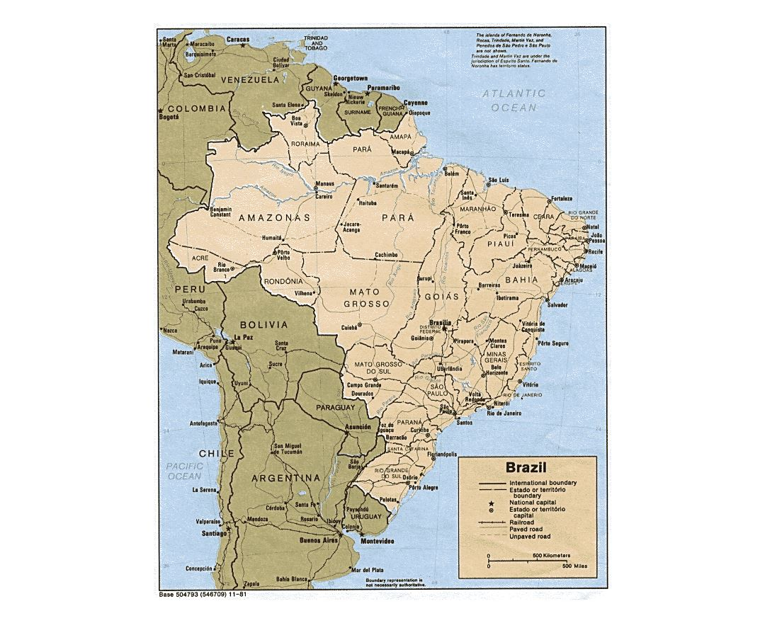 Large political and administrative map of Brazil with roads and major cities - 1981