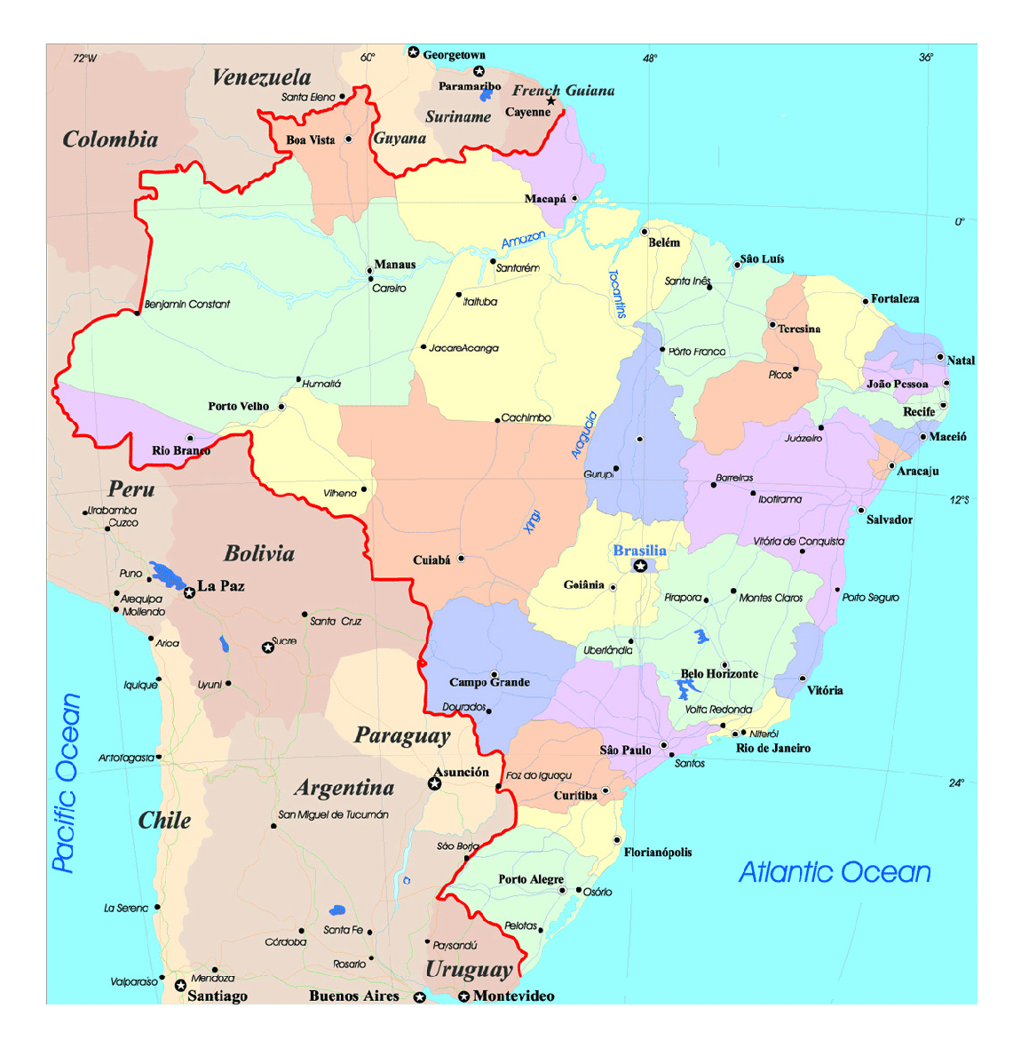 Large political and administrative map of Brazil with roads and