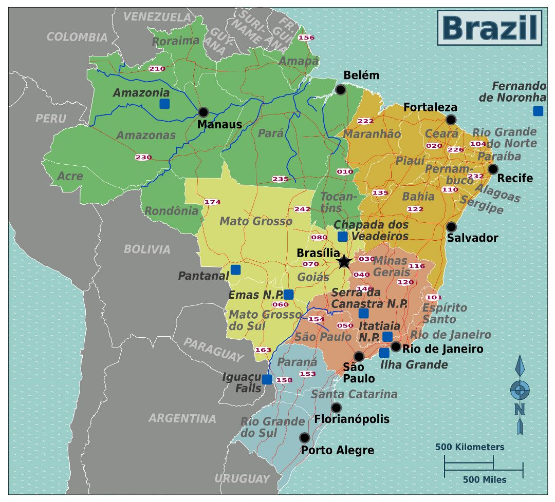 Large regions map of Brazil