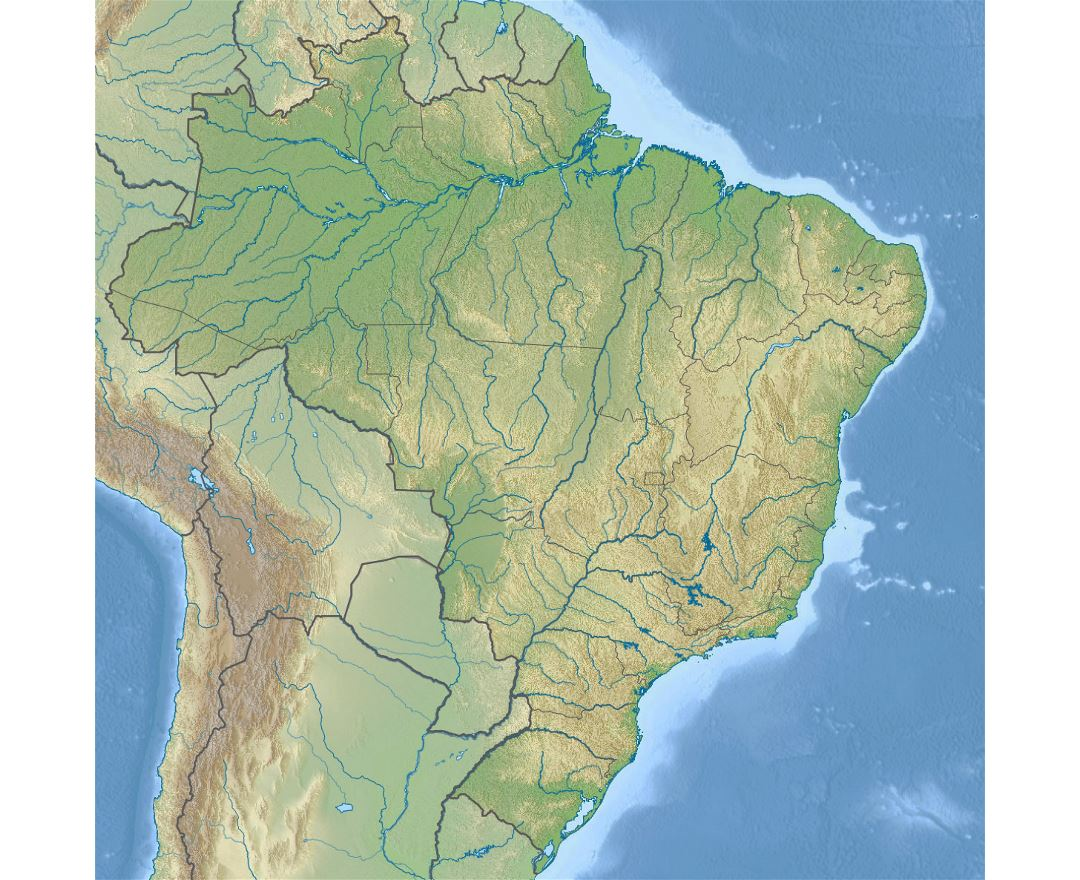 Large relief map of Brazil
