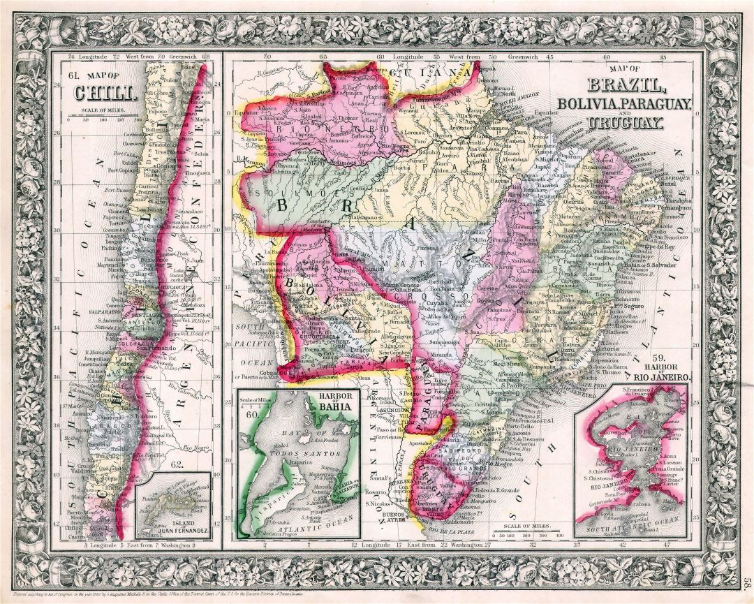 Large scale old political map of Brazil, Bolivia, Paraguay, Uruguay and Chili - 1864