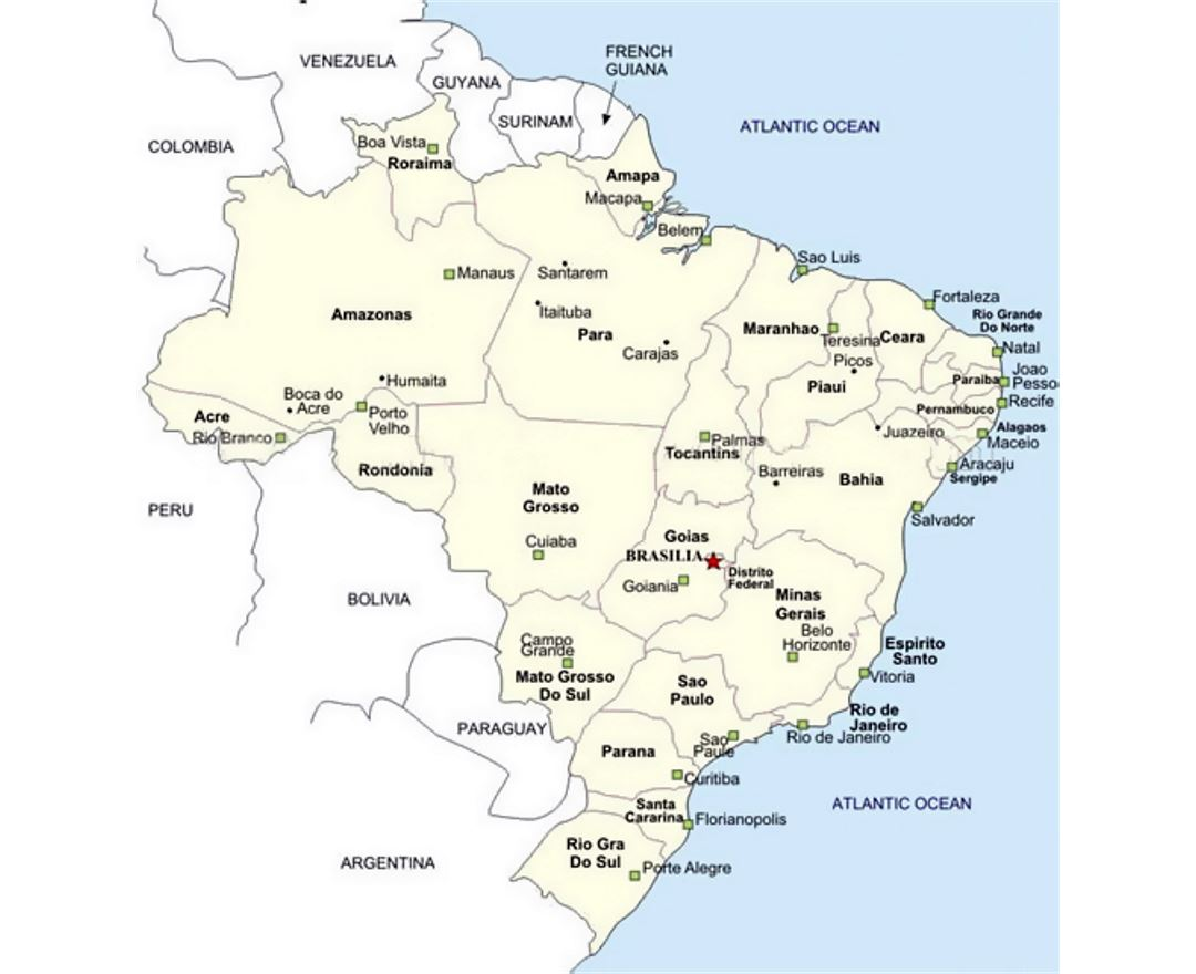 Map of Brazil with cities