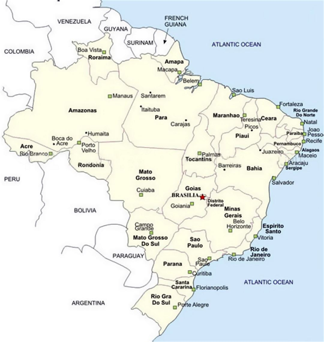 Map Of Brazil With Cities Brazil South America Mapsland - Map of brazil with cities