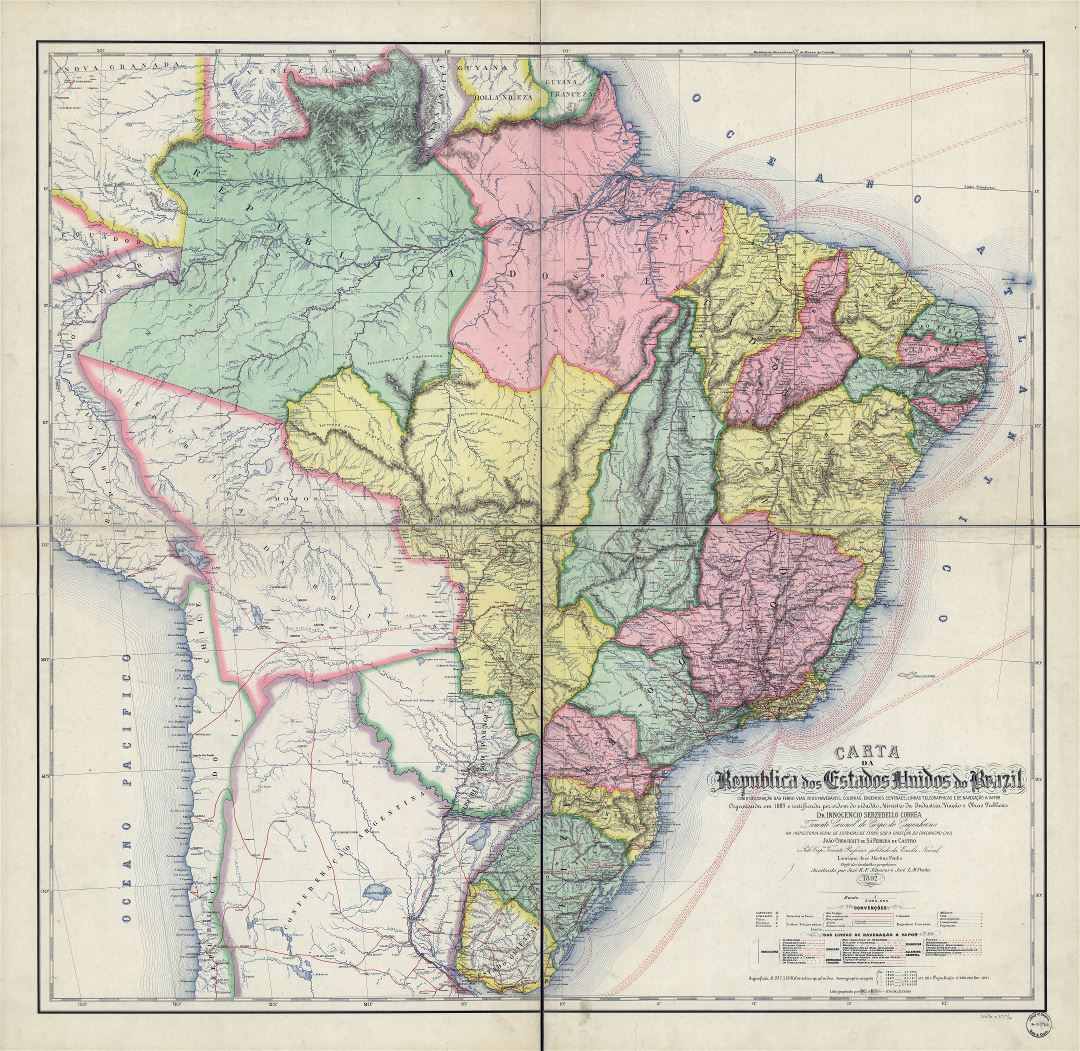 1892 Map Of The World.Large Scale Detailed Old Political Map Of Brazil With Marks 1892