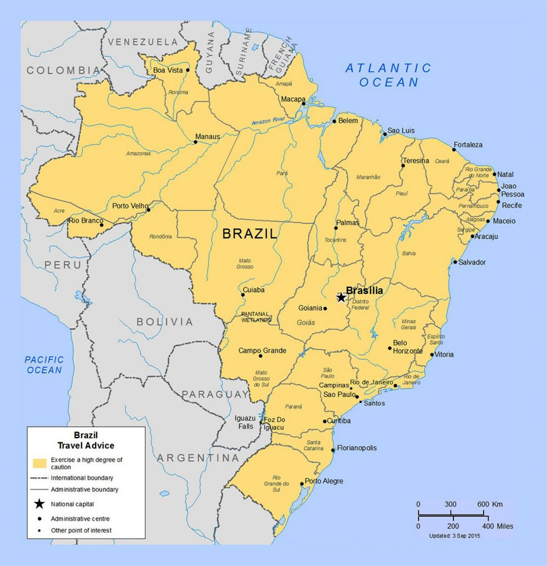 Political And Administrative Map Of Brazil With Major Cities - Brazil political map