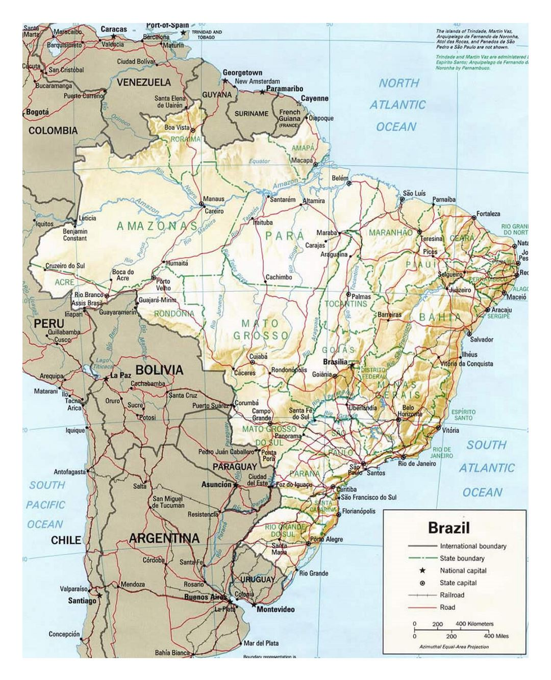 Political map of Brazil with relief