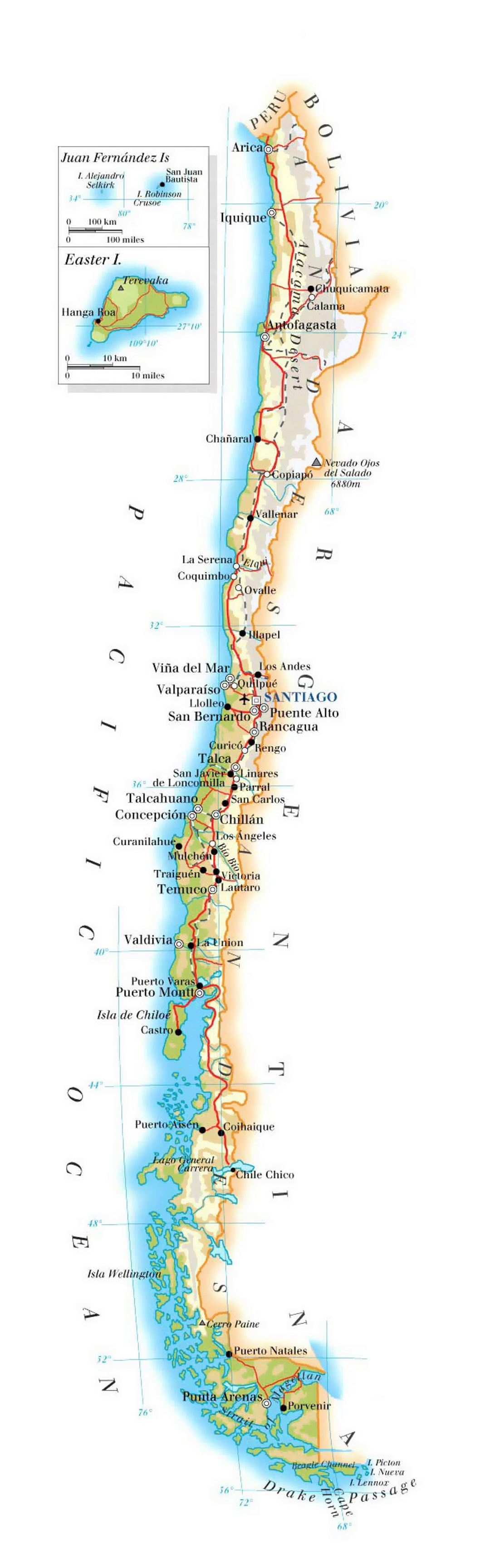Detailed Elevation Map Of Chile With Roads Cities And Airports - Chile map