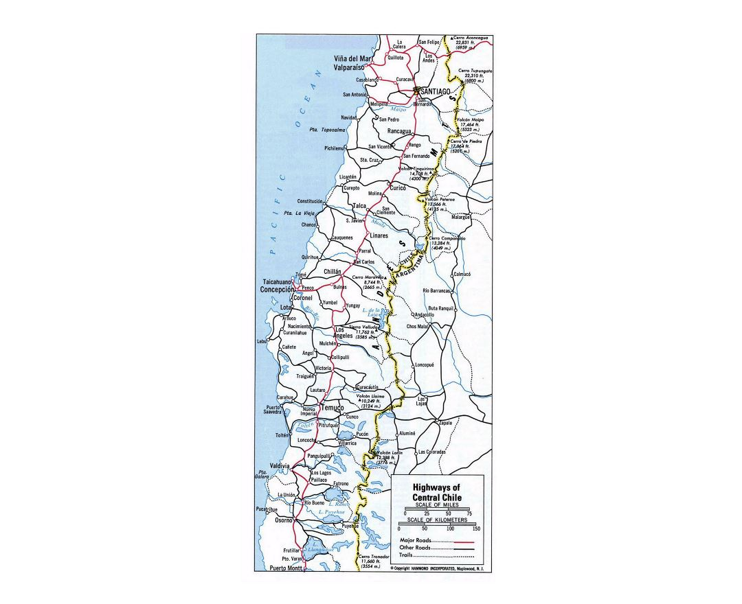 Detailed highways map of Central Chile