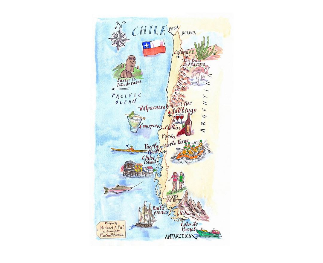 Detailed illustrated map of Chile