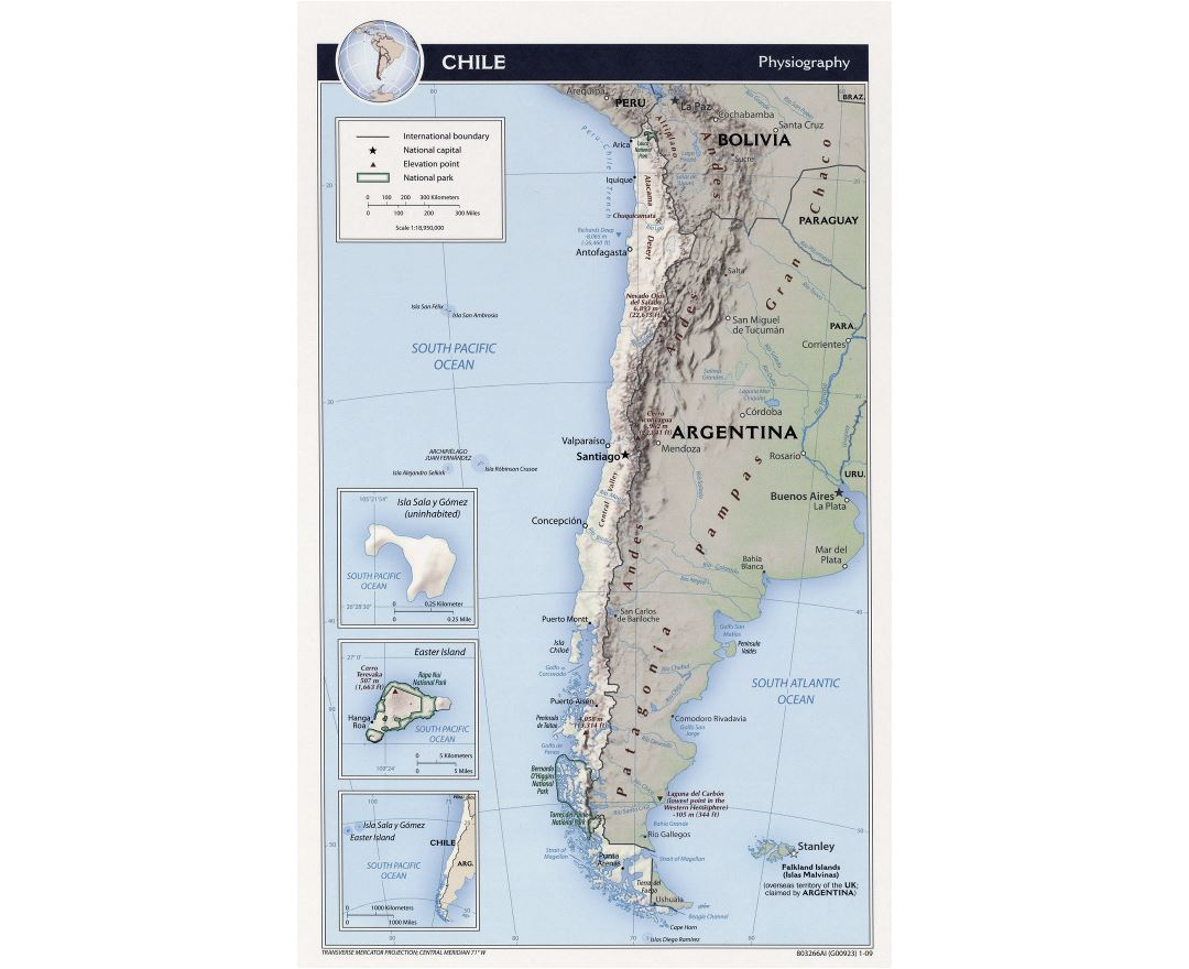 Detailed physiography map of Chile - 2009
