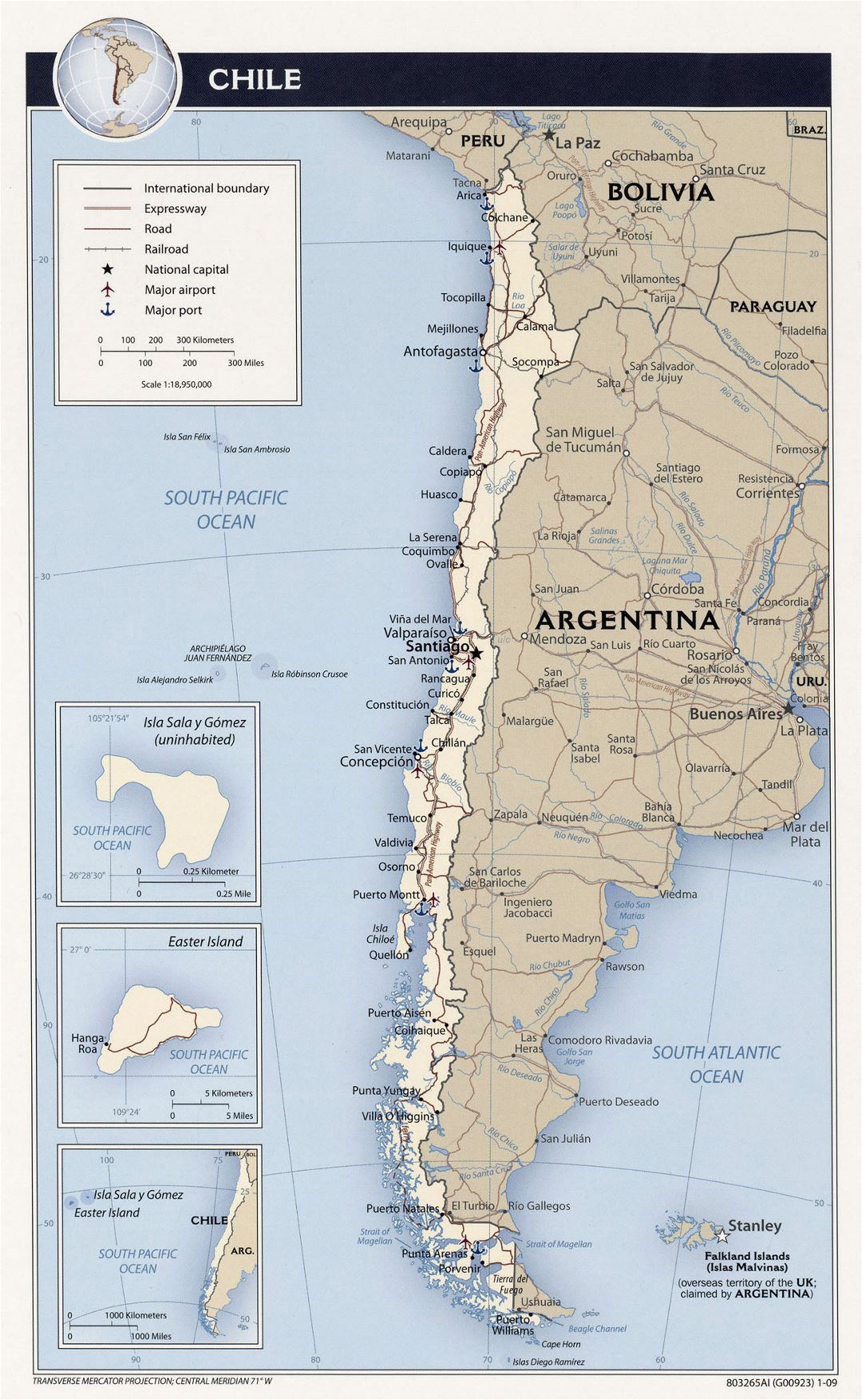 Detailed political map of Chile with roads, cities, airports and sea ports - 2009