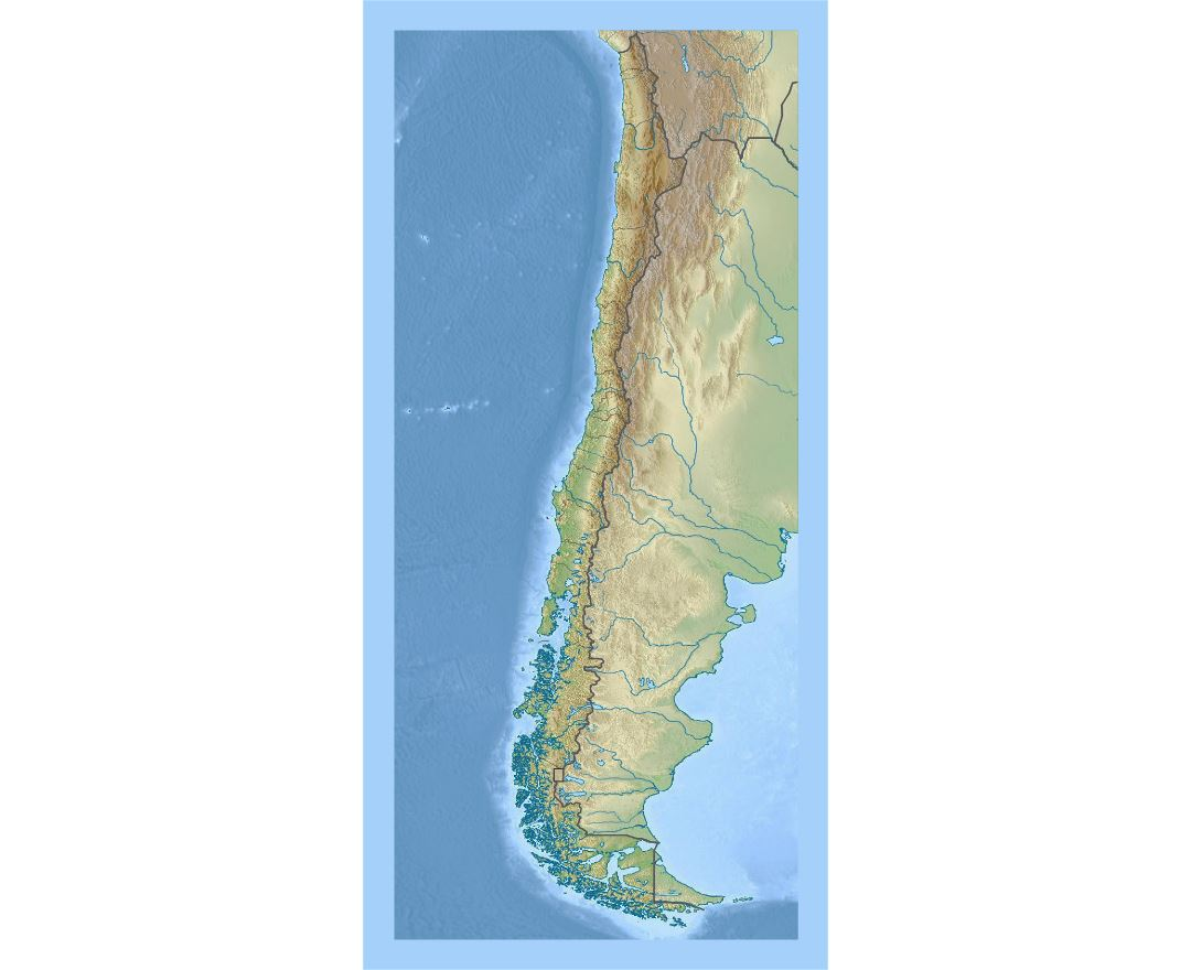 Detailed relief map of Chile