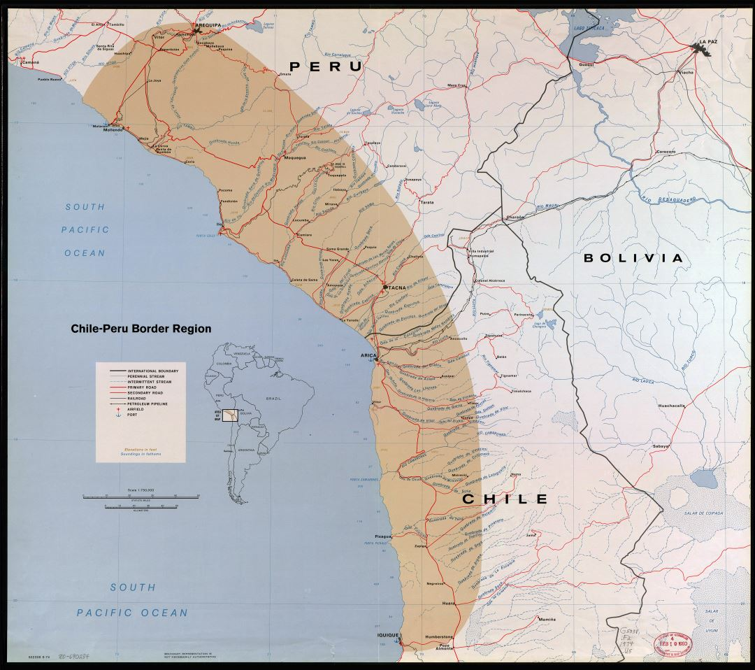 Large detailed Chile-Peru border region map with other marks - 1974