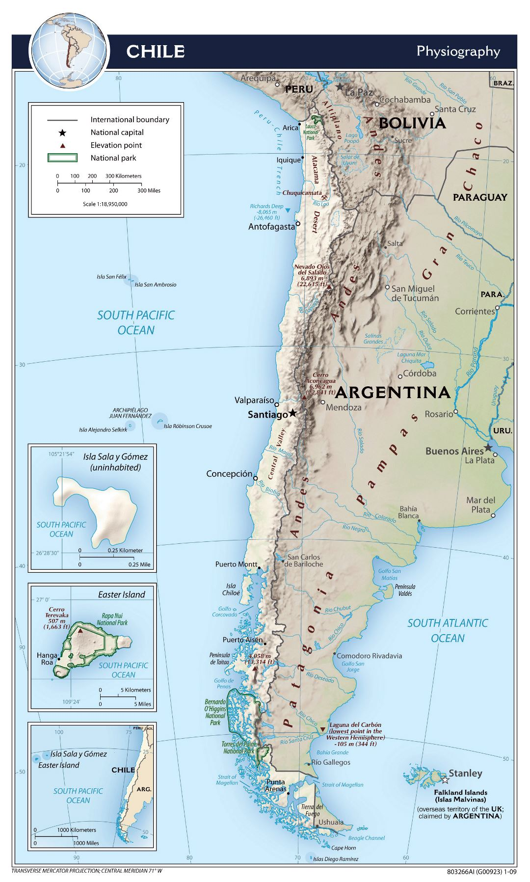 Large detailed physiography map of Chile - 2009