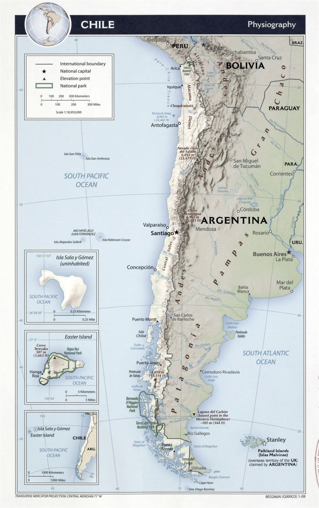 Large detailed physiography map of Chile with other marks - 2009