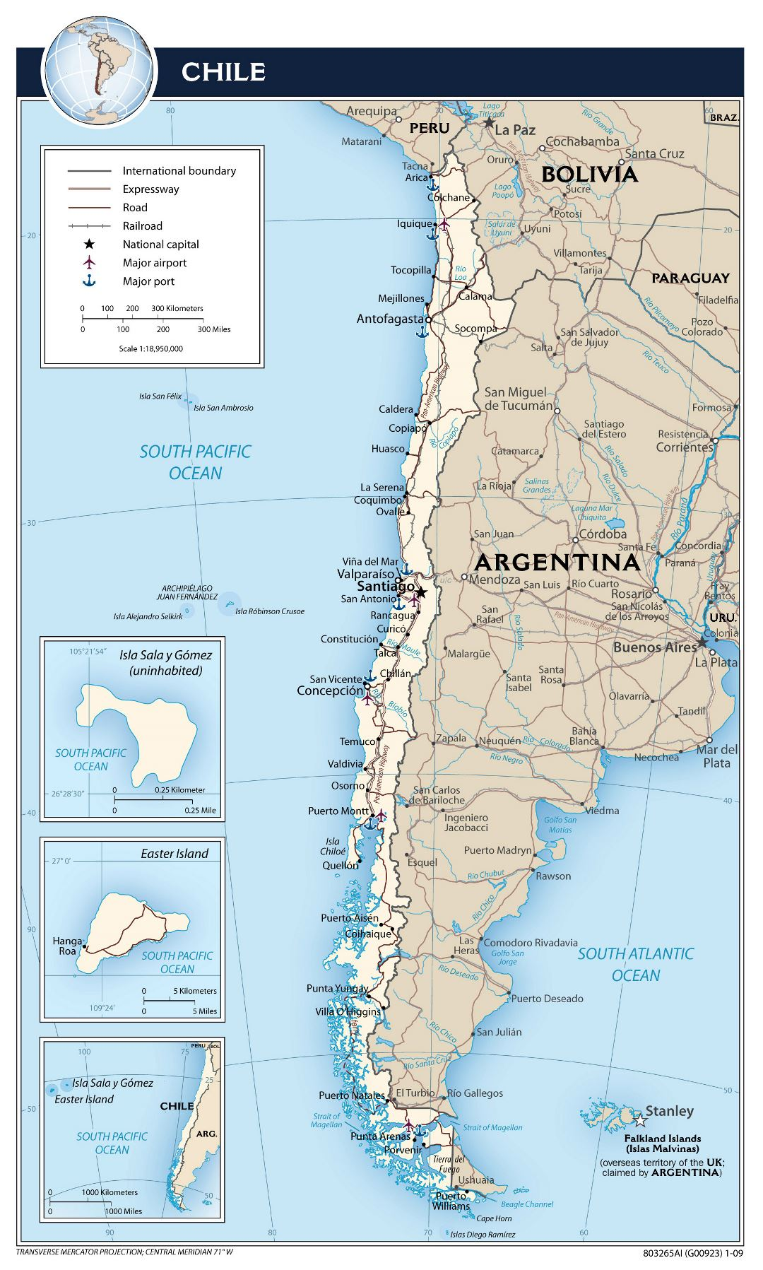 Large detailed political map of Chile with roads, cities, airports and sea ports - 2009