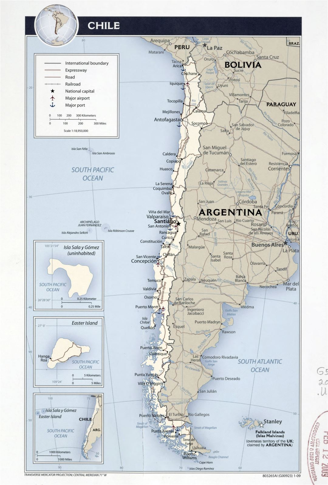 Large detailed political map of Chile with roads, highways, railroads, major cities, sea ports and airports - 2009