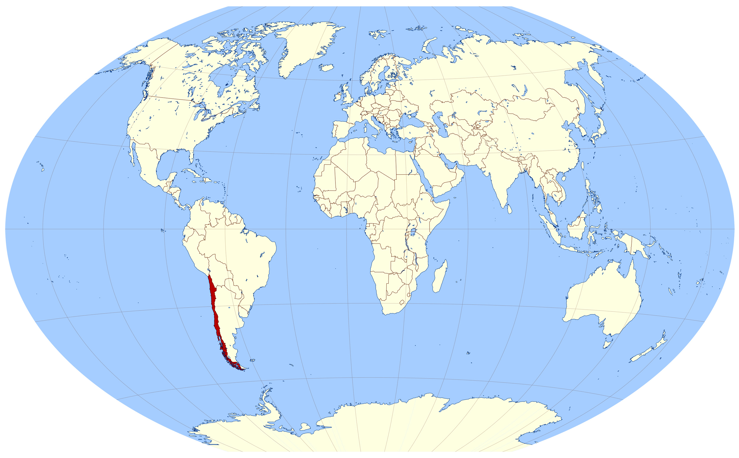 Large Location Map Of Chile In The World Chile South America - Chile location
