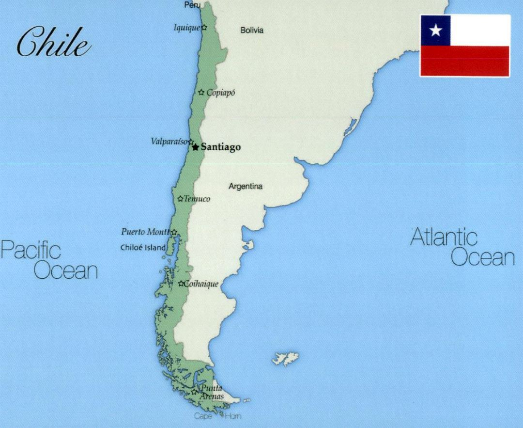 Map Of Chile With Cities Large map of Chile with major cities | Chile | South America