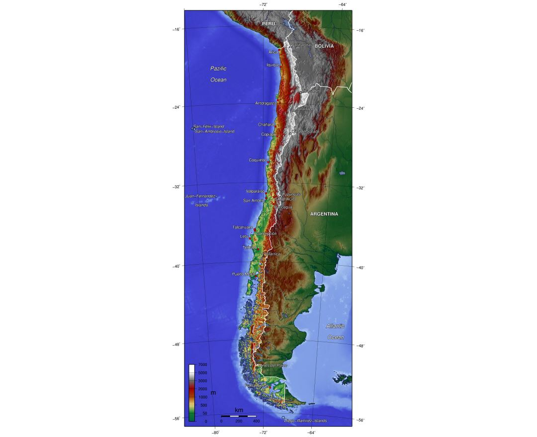 Large physical map of Chile