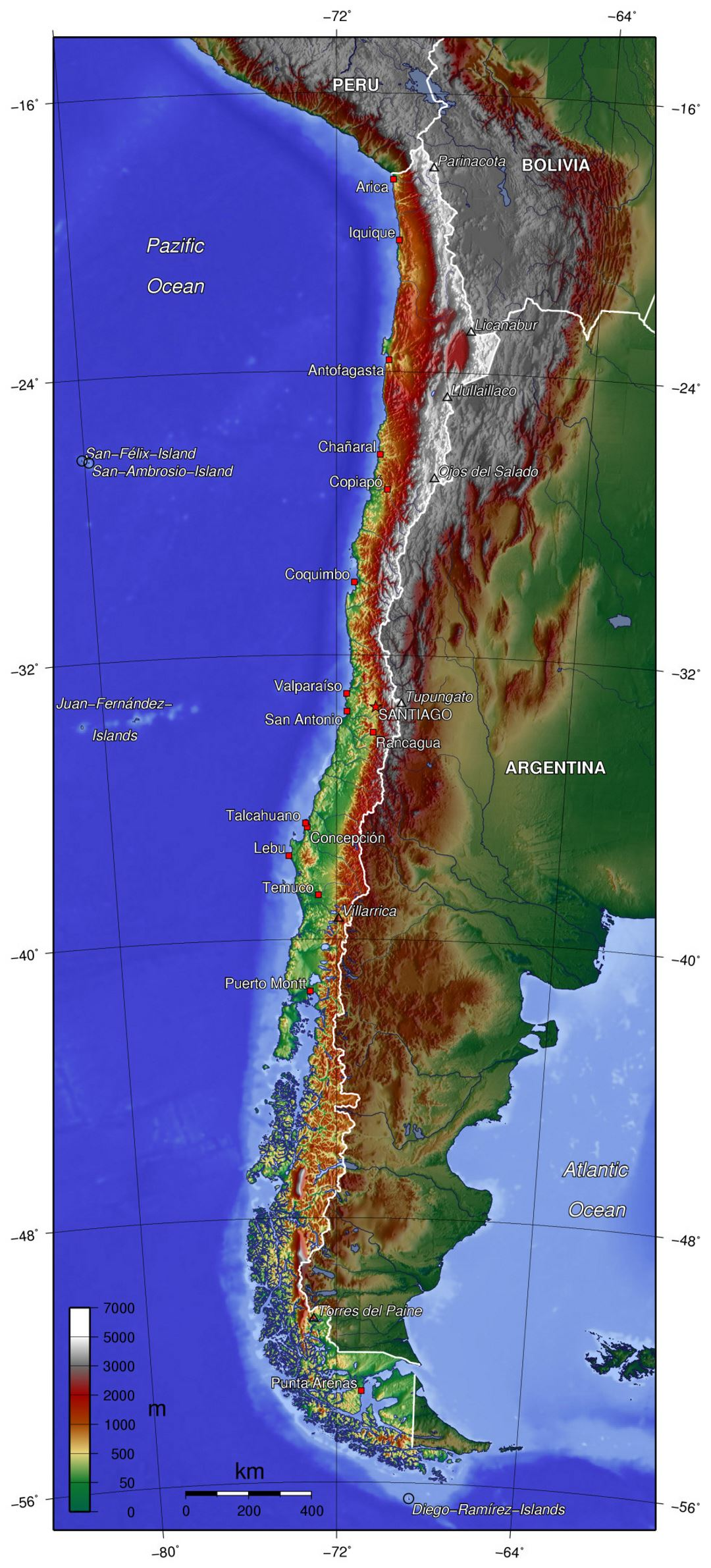 Large physical map of Chile Chile South America Mapsland