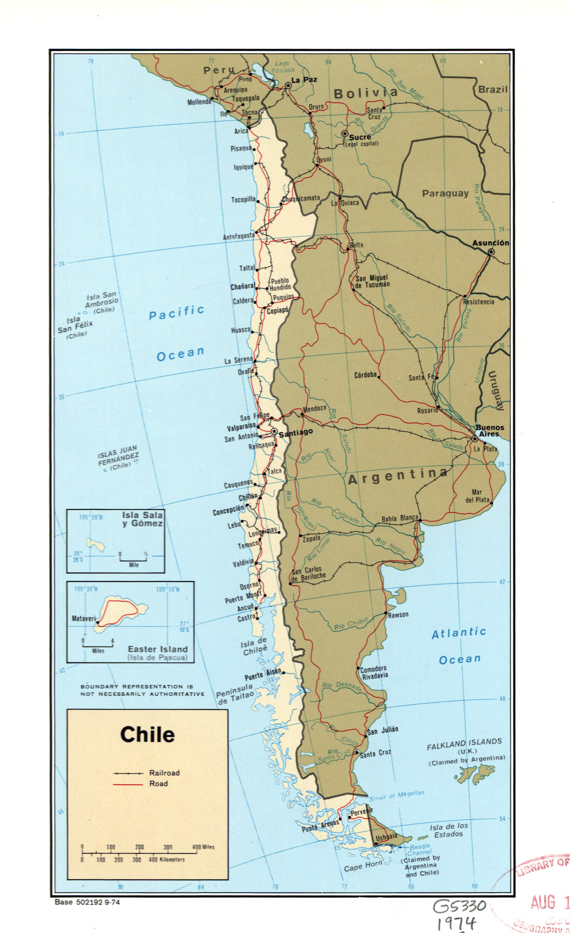 Large Political Map Of Chile With Marks Of Roads Railroads And
