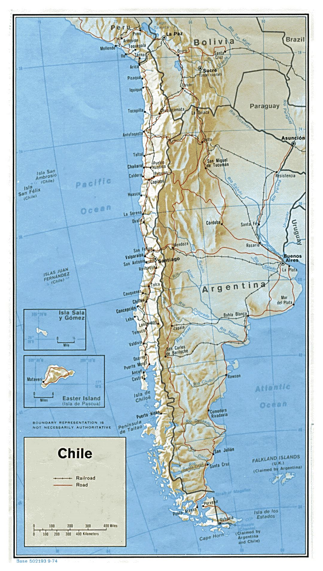 Large political map of Chile with relief, roads and major cities - 1974