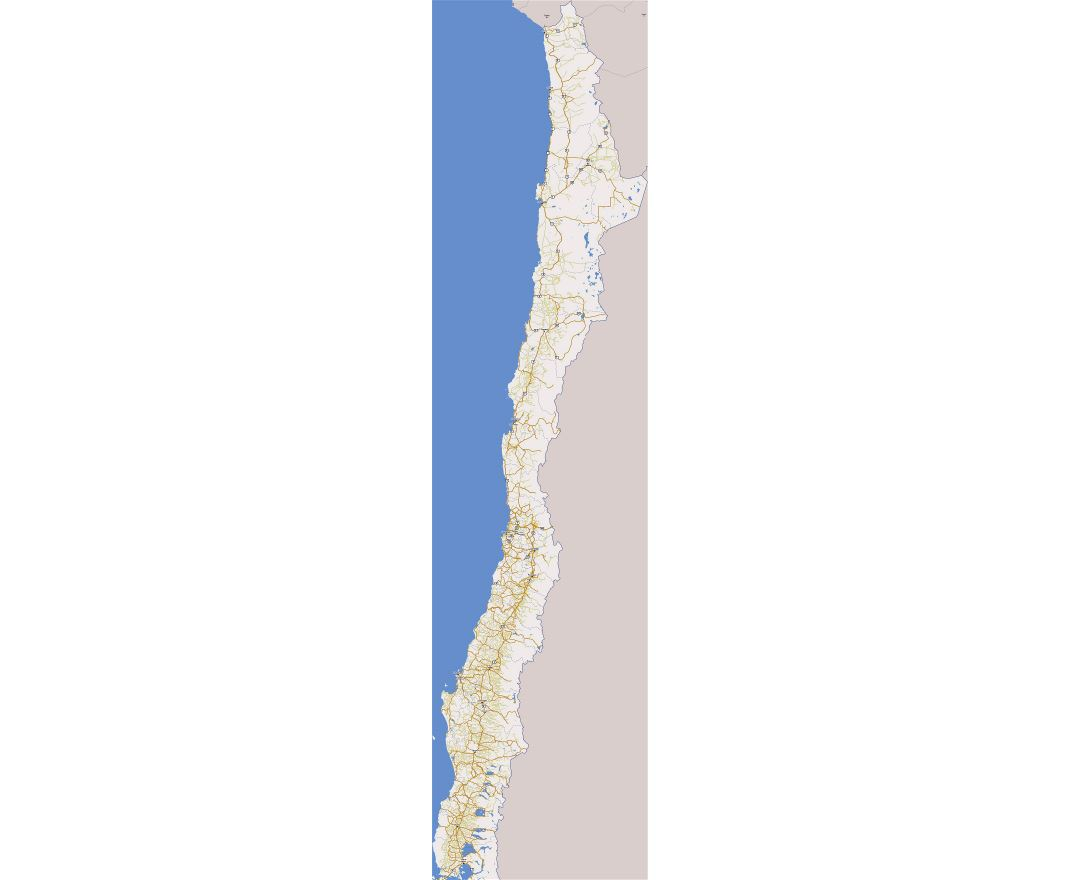 Large road map of Chile