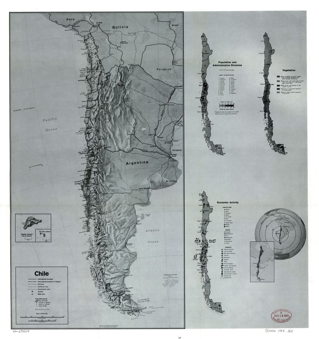 Large scale country profile map of Chile - 1983