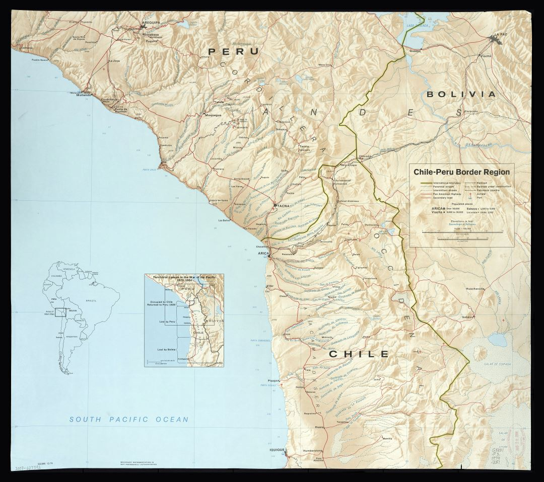 Large scale detailed Chile-Peru border region map with relief and other marks - 1974