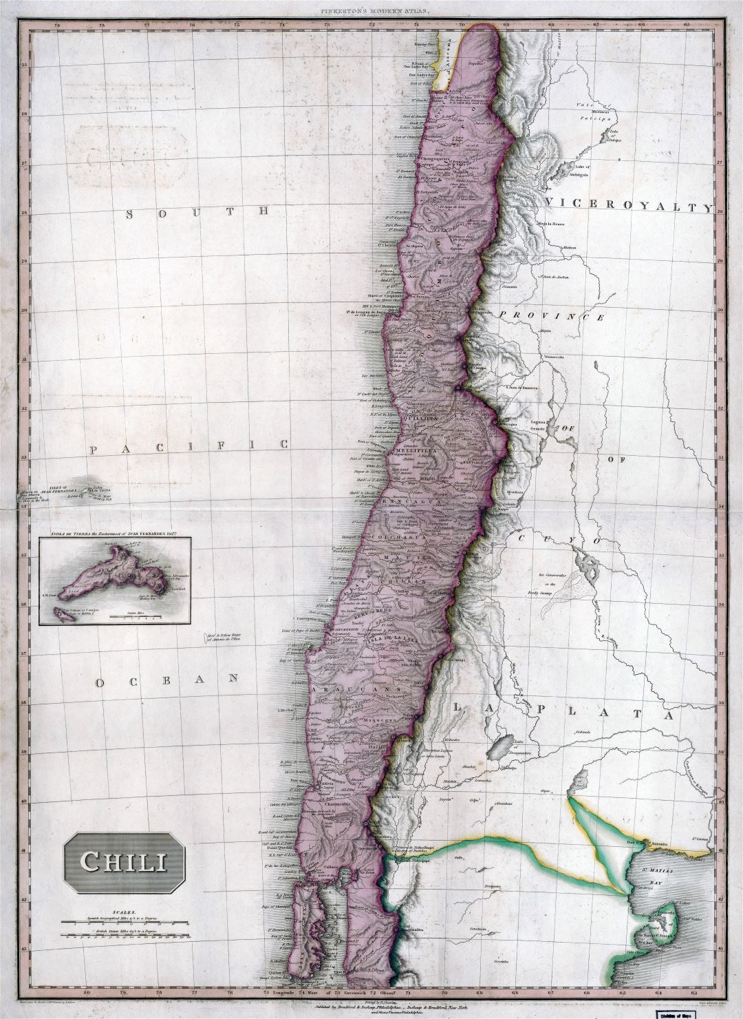 Large scale vintage map of Chile with other marks - 1818
