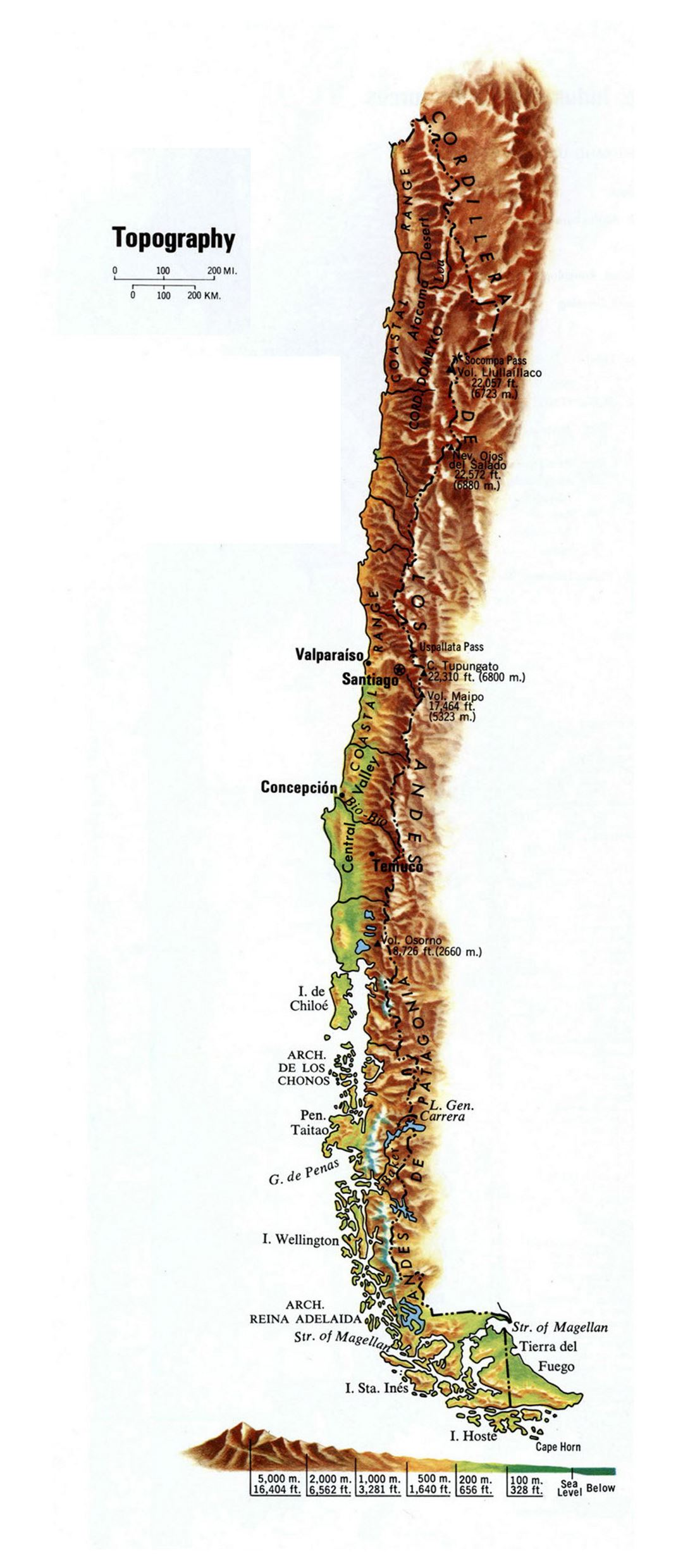 Large topography map of Chile