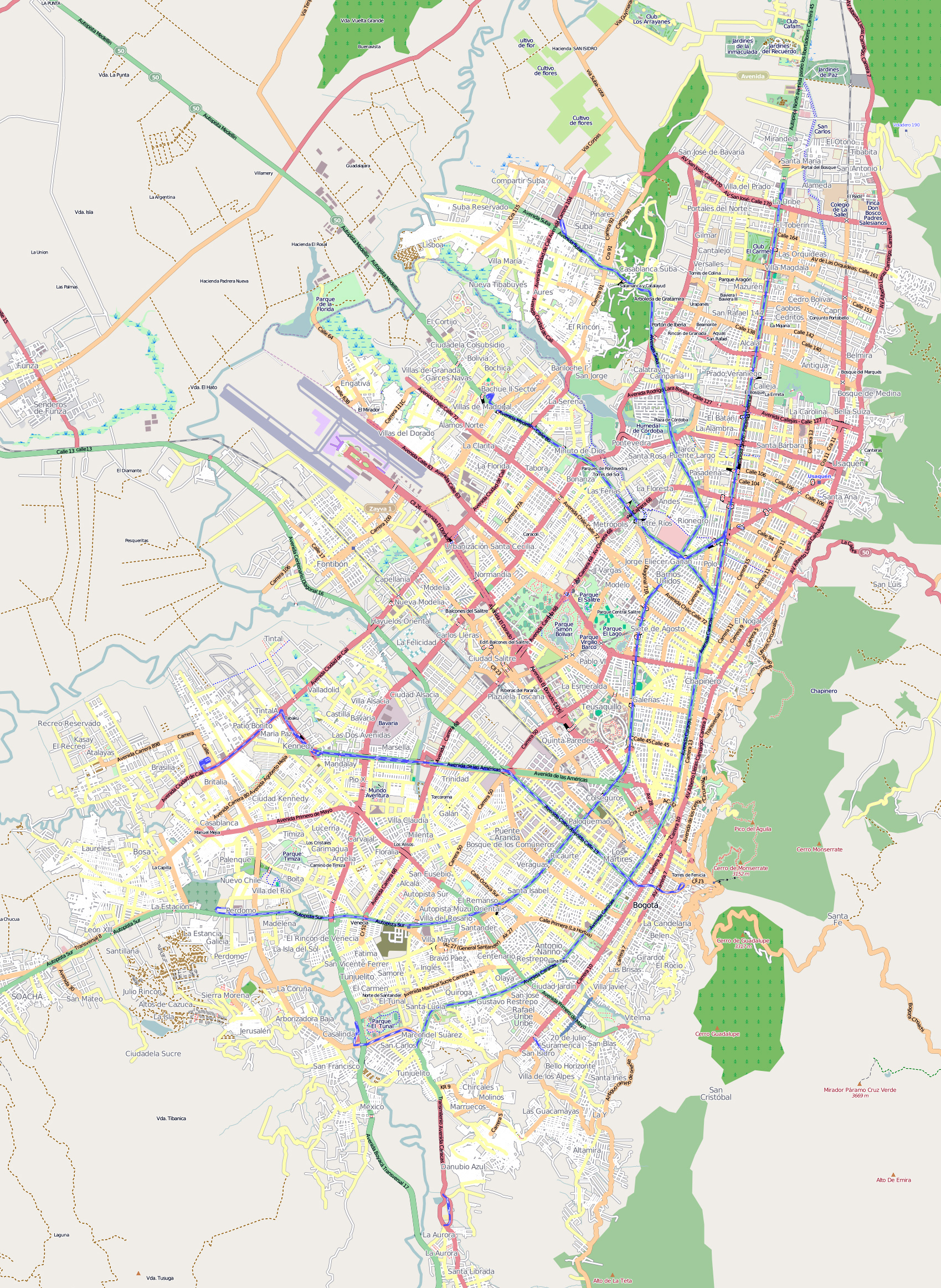 Detailed Road Map Of Bogota City Bogota Colombia South - South america road map