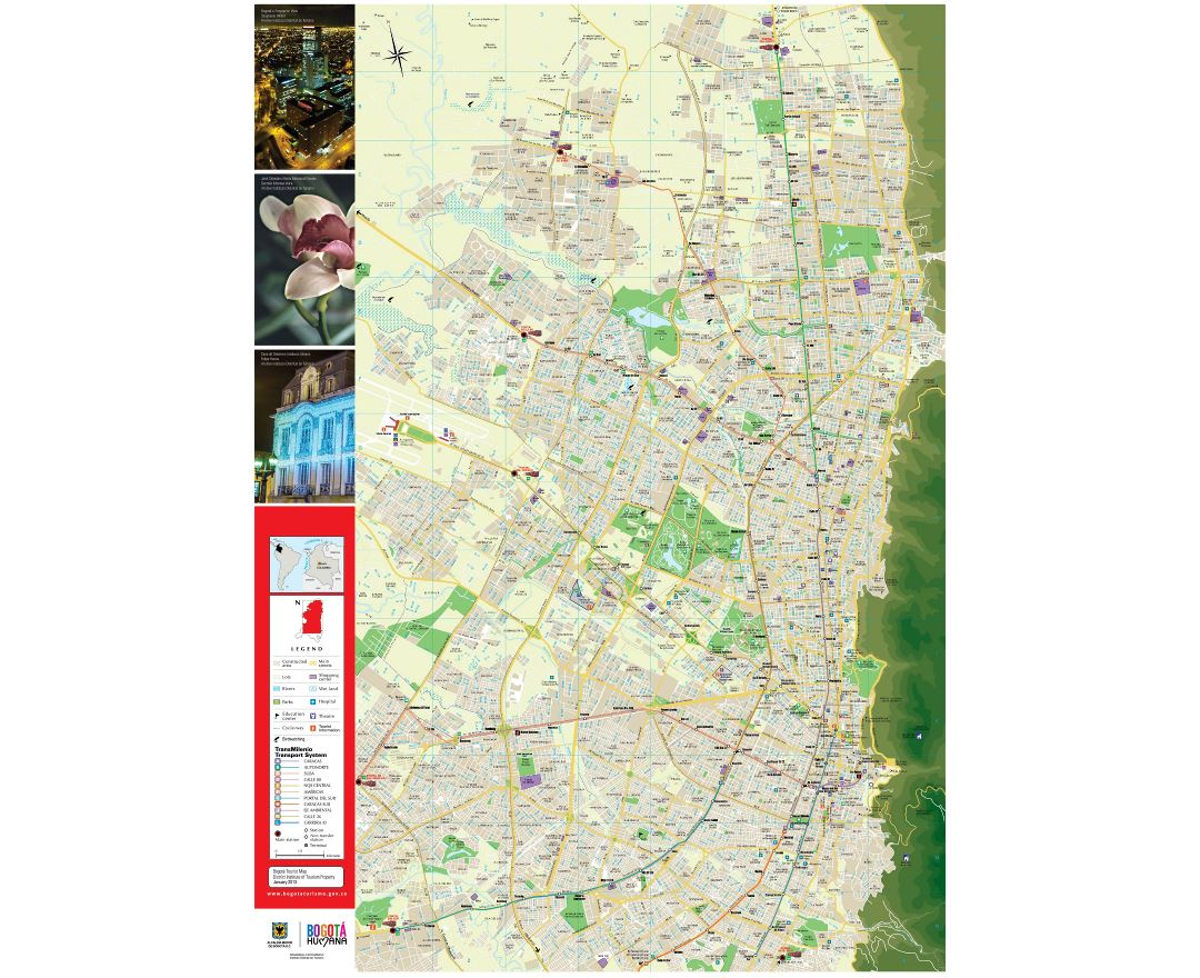 Detailed roads and tourist map of Bogota city