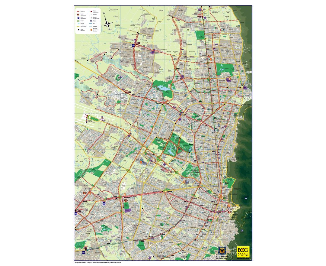 Large detailed road and tourist map of Bogota city
