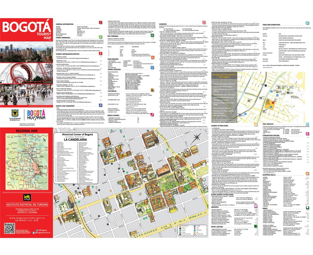 Large detailed tourist map of historical part of Bogota city in english