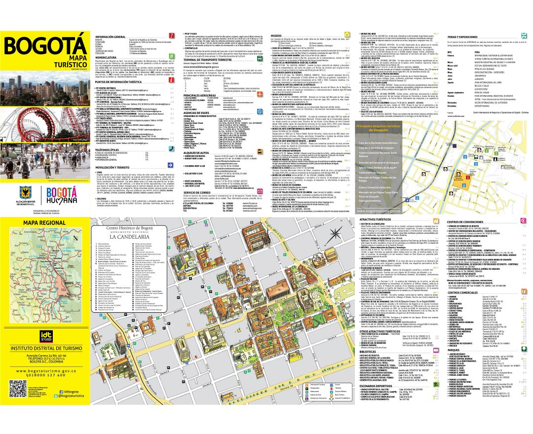 Large detailed tourist map of historical part of Bogota city in spain