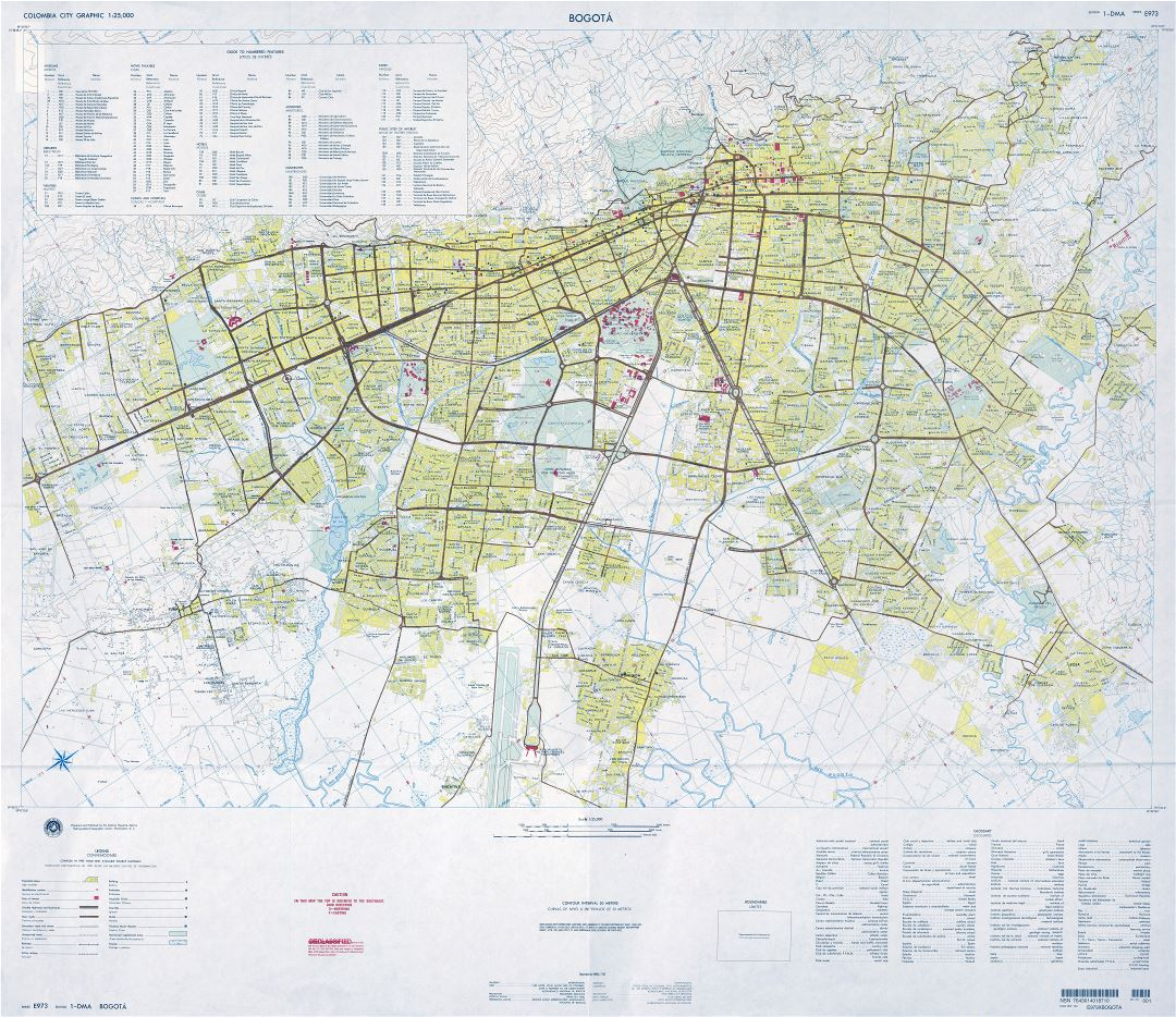 Large scale detailed road map of Bogota city with all buildings