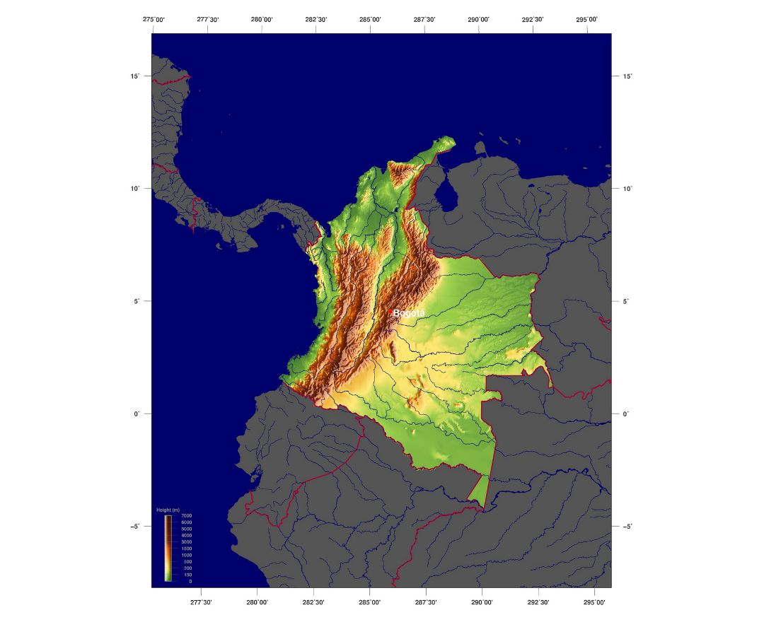 Maps of colombia detailed map of colombia in english tourist map detailed physical map of colombia gumiabroncs Gallery